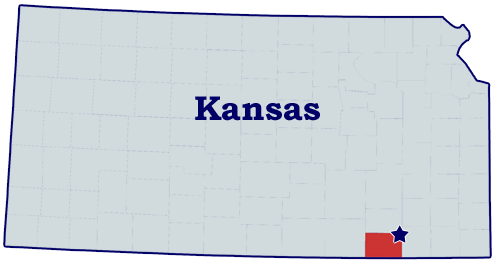 Map of Chatauqua county Kansas with a star for the Bittercreek Rose Lodge